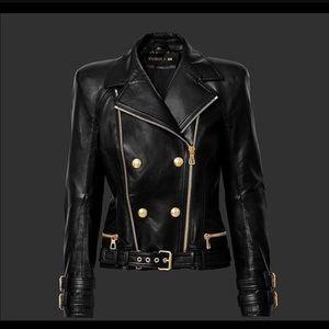 Balmain H&M leather jacket sz 6