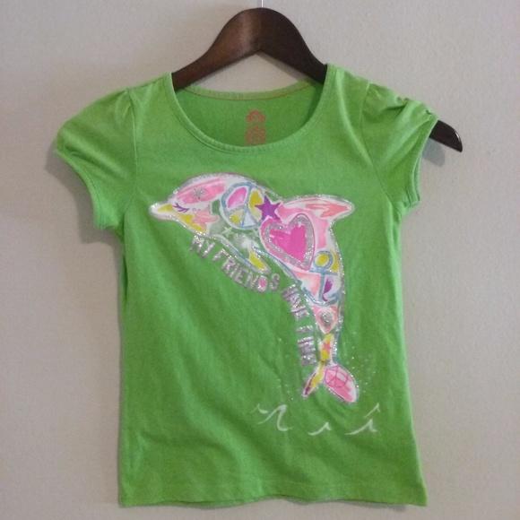 7dcbcb746 Garanimals Other - 365 Kids Green Glitter Dolphin Tshirt Girls Size 8