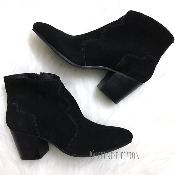 2c17327a351 Steve Madden Rooney Black Suede Ankle Booties