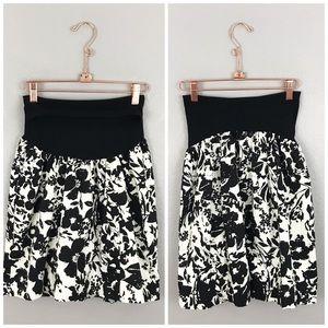 Maternity Black White Floral Belly Band Skirt