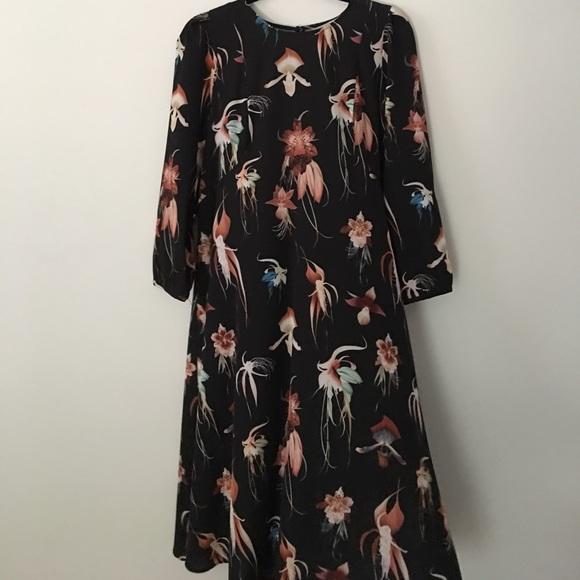 de8369e2aa33 H&M Dresses | Hm Black Floral Midi Dress | Poshmark