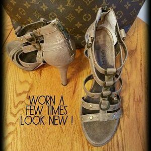 Leather Vaneli strappy heels