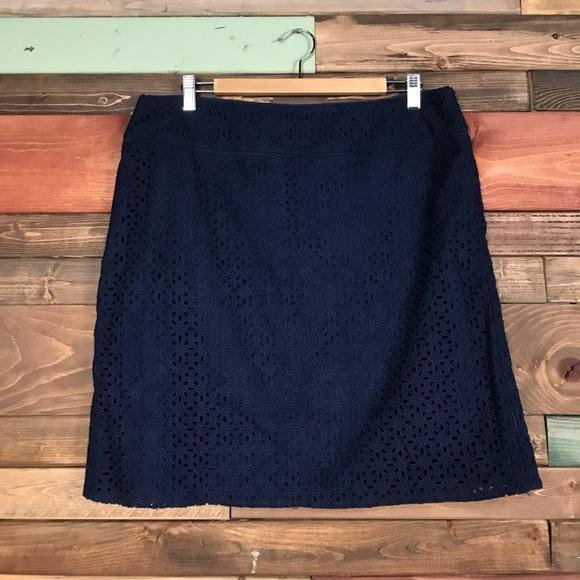 97df45c3e Saint Tropez West Skirts | Navy Eyelet Pencil Skirt 14 | Poshmark