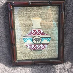Embroidered native pot, bear picture, new.