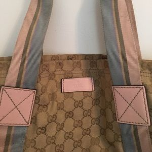 Gucci Canvas Logo Tote, Tan, Pink, Blue