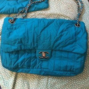 Chanel Turquoise/Blue Packable Jumbo Flap, RARE
