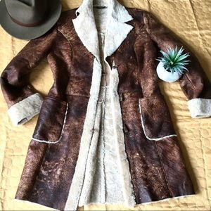 vintage vegan sherpa leather trench 70s