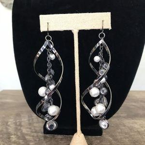 Spiral pearl and crystal dangle earrings