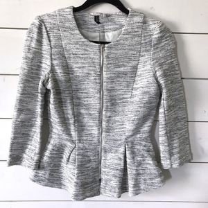 H&M Black White Tweed Peplum Zippered Jacket