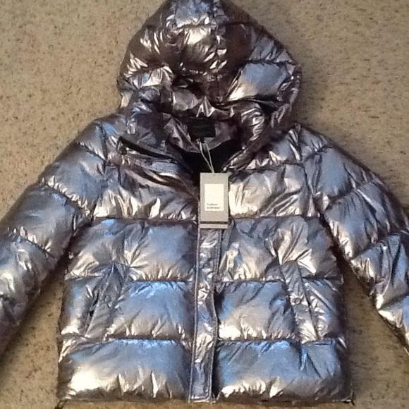 7ef2a69841a Zara Jackets & Coats   Trafaluc Metallic Puffer Hooded Jacket Nwt ...
