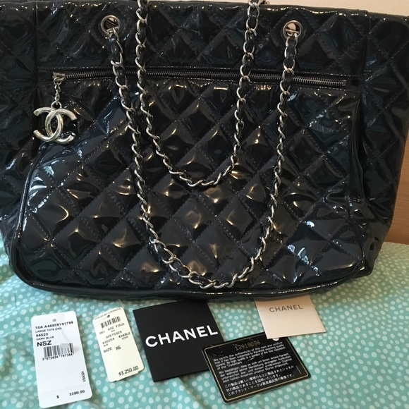6d2f27c52820 CHANEL Bags | Navy Patent Tote 10a Chic Glitter | Poshmark