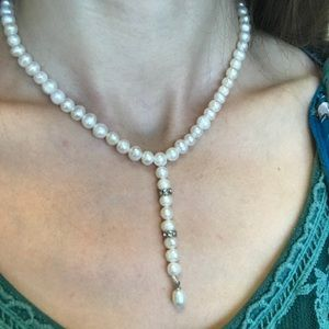 Vintage Jewelry - 💫Freshwater Pearl Rhinestone Dangle Drop Necklace