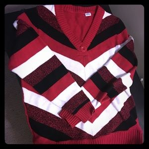 Sweaters - Red, black and white striped sweater