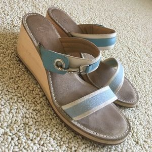 Striped Blue White Coach Strap Wedges Mules Heels