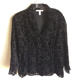 JM Collection Burnout Black Velvet Jacket Size 16