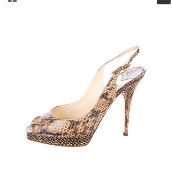 92e0fee4f5 Jimmy Choo Shoes | 405 Snakeskin Slingback Peep Toe Pumps | Poshmark