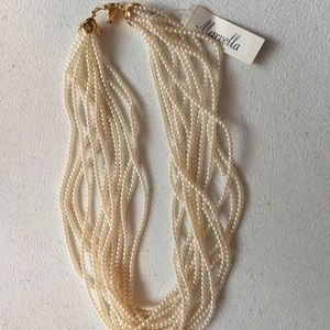 Marvella 12 Strand Faux Pearl Necklace NWT