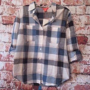 Joe Fresh Cotton Roll Sleeve Button Up Blouse