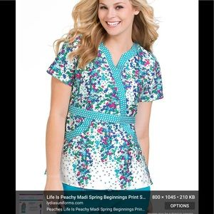 Peaches Scrub Top