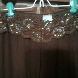 Sequined and Lace Brown Palazzo Pants