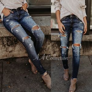 Denim - jeans distressed denim skinny
