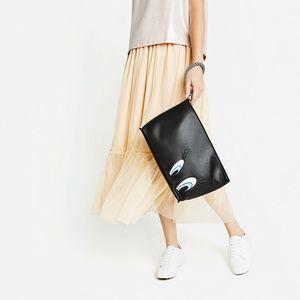 NWT Zara TWEETY Black Oversized Clutch Purse
