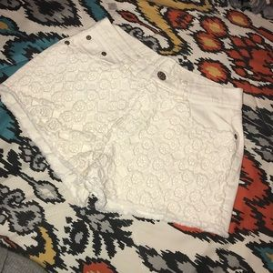 White shorts with crochet front