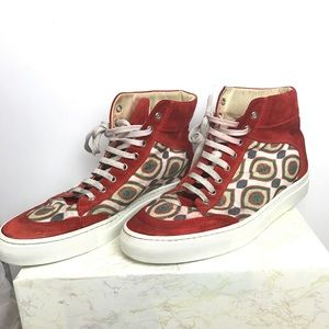 Alberto Moretti red print leather high sneakers 42