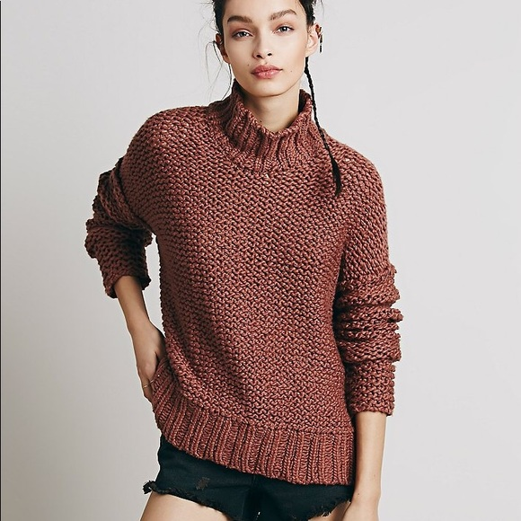 a44567372 Free people chunky cowl neck mock pullover sweater
