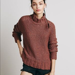 Free people chunky cowl neck mock pullover sweater
