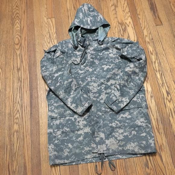 ee1fd5dd5fa60 Vintage Jackets & Coats | Mens Camo Heavy Duty Military Rain Coat ...