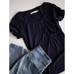 Madewell Velvet Sleeve and Pocket tee