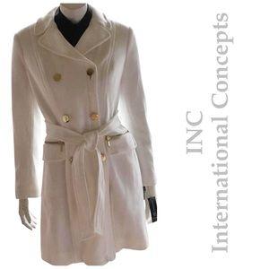 NEW INC winter white cotton warm mid car coat XL