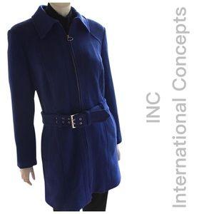 NEW INC royal blue cotton warm walking car coat XL