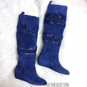 7 For All Mankind Blue Suede Knee High Boots