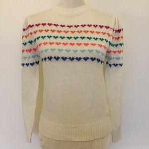 Vintage Knit hearts pattern long sleeve sweater