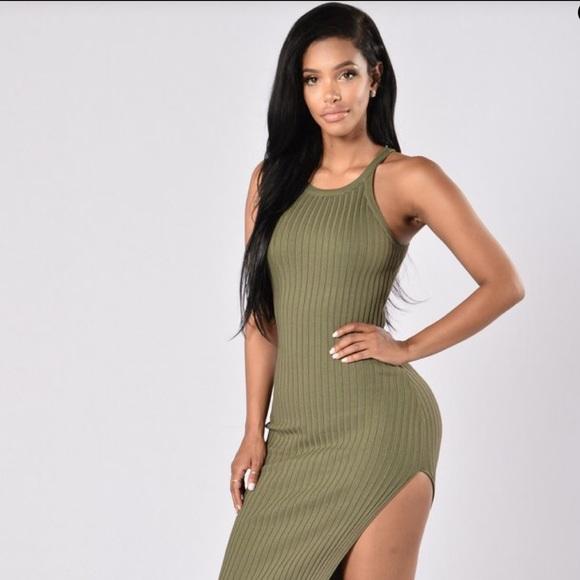 219df95e23c Fashion Nova Dresses   Skirts - NWOT Sexy olive bodycon ribbed side slit  dress
