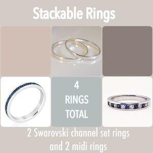 Jewelry - 4 Stacking Rings- 2 Swarovski channel set & 2 midi
