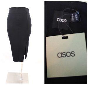 Asos Black Pencil Skirt Side Slit NWT Size 6