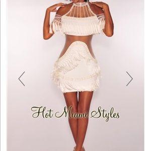 ab35088704e Windsor Dresses - Off White Mesh Fringe Tassel Dress