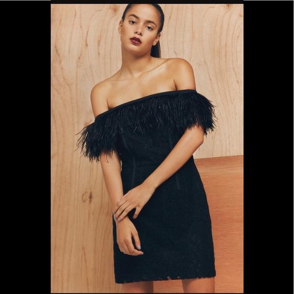 TOPSHOP feather trim off the shoulder black dress c05b7dffd
