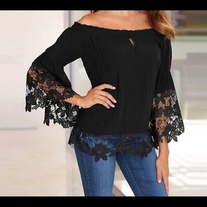 Tops - Sexy Black Off Shoulder Flare Sleeve Lace Top