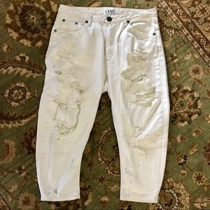 One Teaspoon Eagles Destroyed White Baggy Jeans