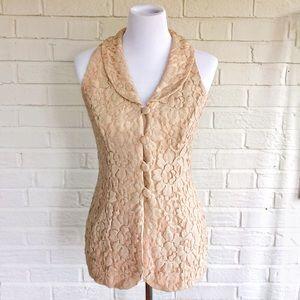 Vintage Gillian tan camel sleeveless lace tunic