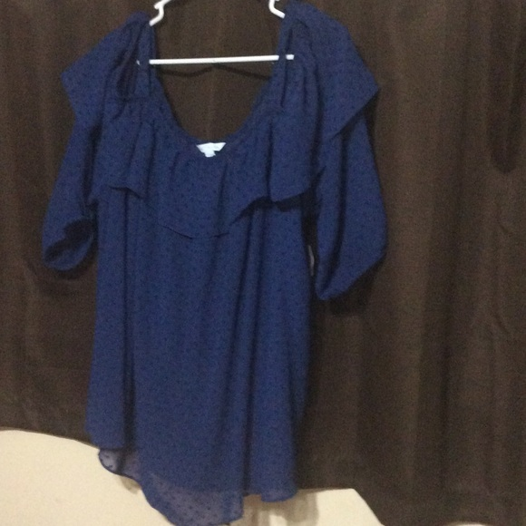 f9c95768ecd9f4 jcpenney Tops | Nwt Plus Size 3x Navy Cold Shoulder Peasant Top ...