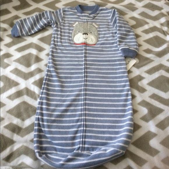 CARTERS Baby Girls 0-9 Month Fleece Pajama Zip Front Sleepbag NWT Pajama
