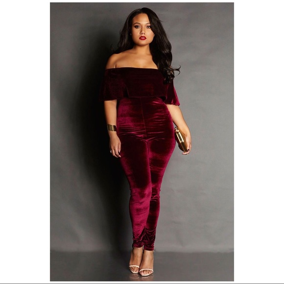 Rebdolls Pants New Grisel Royal Velvet Off The Shoulder Jumpsuit