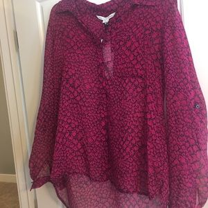 DVF Sheer Button Up Blouse