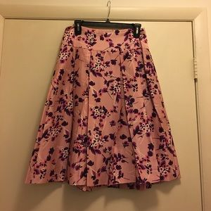 Silk Vintage Print EXPRESS A-line Skirt Size 8