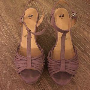 Purple straps, Cork wedge shoes